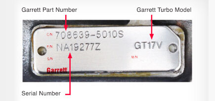 Garrett, turbonummer, originalnummer, turbo1, skilt, plate,